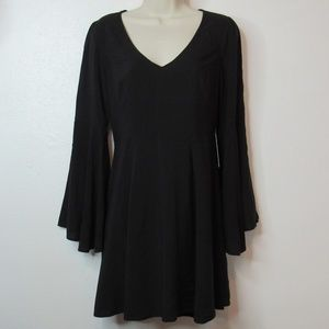 Express Mini Black Dress with Bell Sleeves